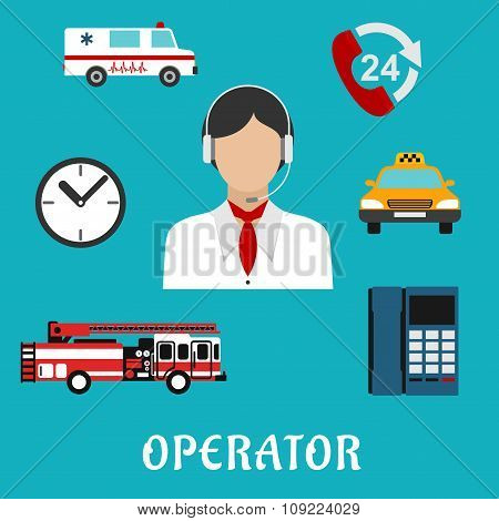 Dispatcher or operator profession icons