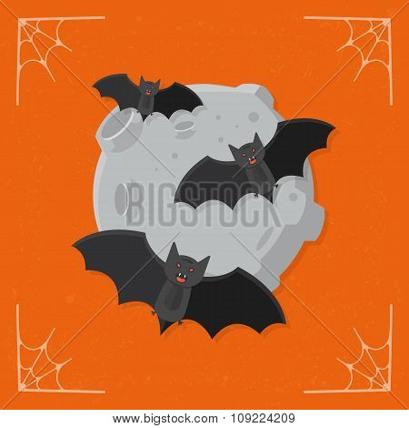 Bats on moon icon vector