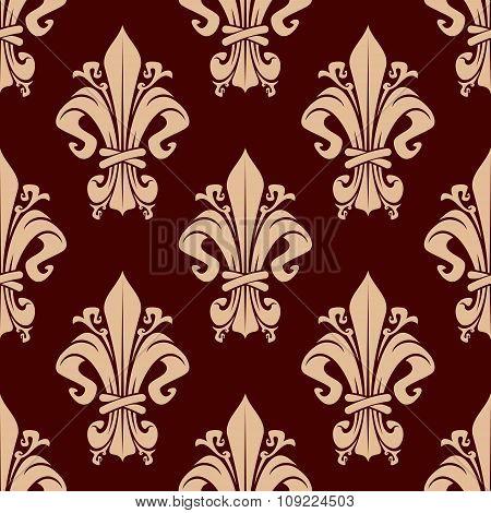 Brown vintage fleur-de-lis floral pattern