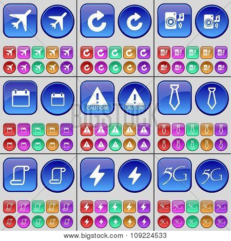 Airplane, Reload, Speaker, Calendar, Caution, Tie, Scroll, Flash, 5G. A Large Set Of Multi-colored