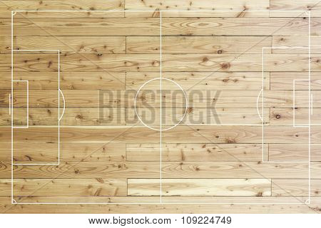 Football Field Made Of Wood.
