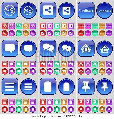 Countdown, Share, Feedback, Chat Bubble, House, List, Battery, Pin. A Large Set Of Multi-colored