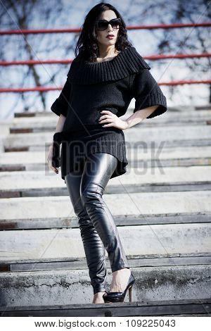 Woman On The Stadium Wearing Black