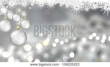 Christmas background with hanging baubles, bokeh lights and silver decorations