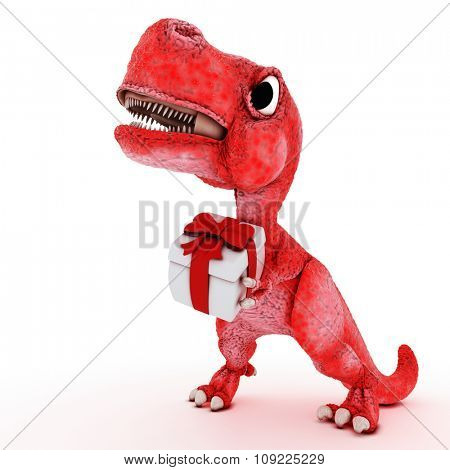 3D Render of Friendly Cartoon Dinosaur with gift box