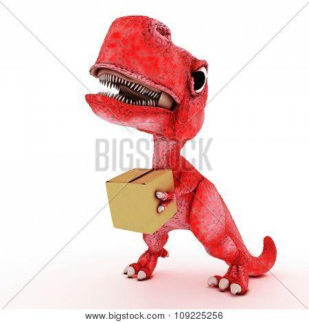 3D Render of Friendly Cartoon Dinosaur with cardboard box