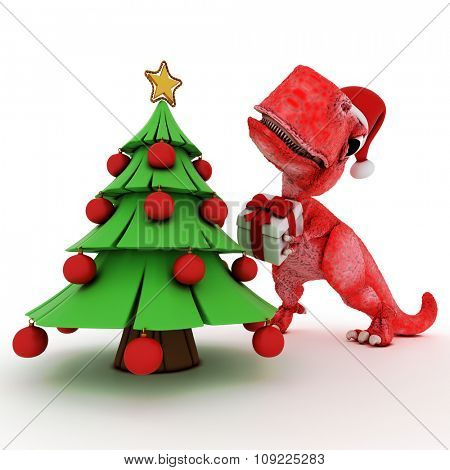 3D Render of Friendly Cartoon Dinosaur with christmas gift tree