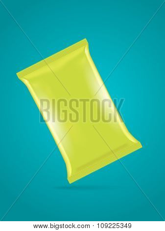 Vector green foil bag template for potato chips, coffee, sugar, snack, junk food, eps10