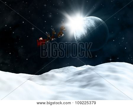 3D render of a winter landscape with santa flying though a night sky