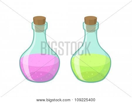 Vector illustration of two bottles in cartoon style, eps10