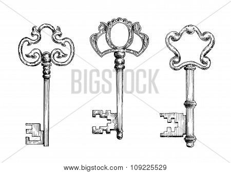 Old antique keys in sketch style