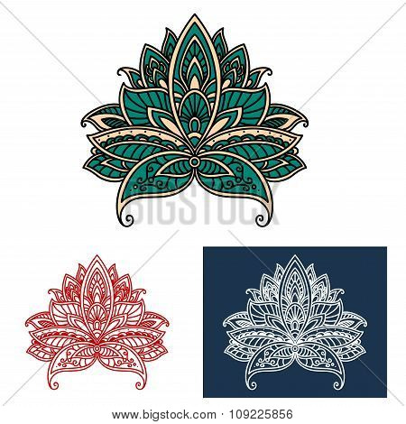 Ornamental turkish paisley flower design elements