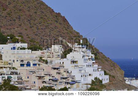 San Jose in Cabo de Gata natural park Almeria Spain. Mediterranean seaside town