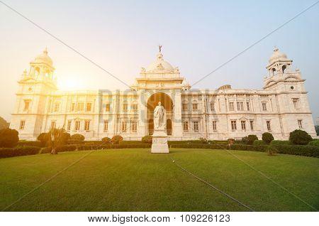 Front view Victoria Memorial in Kolkata or Calcutta, India.