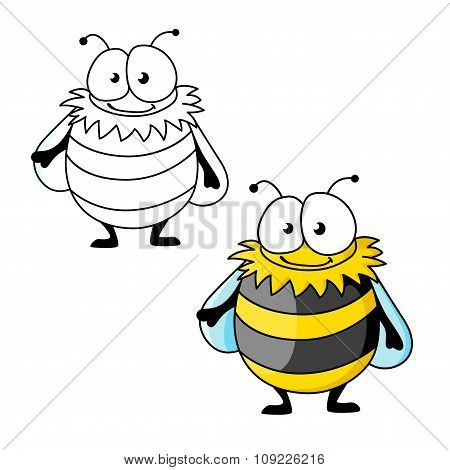 Black and yellow striped furry cartoon bumblebee