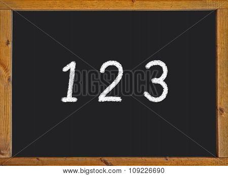 1 2 3 written on a black blackboard