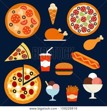 Fast food, drink and desserts menuflat icons