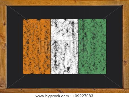 Ivory Coast flag on a blackboard