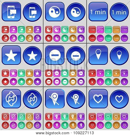 Sms, Yin Yang, 1 Minutes, Star, Minus, Checkpoint, Reload, Heart. A Large Set Of Multi-colored