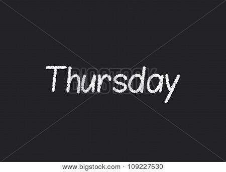 Thursday written on a blackboard