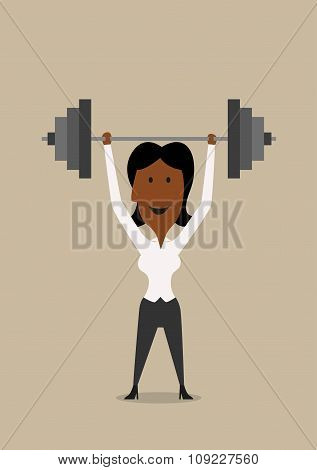 Businesswoman lifting barbell above head
