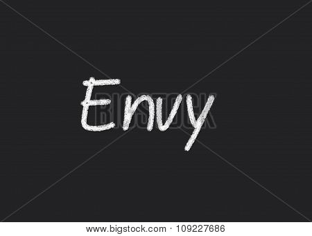 Envy written on a blackboard