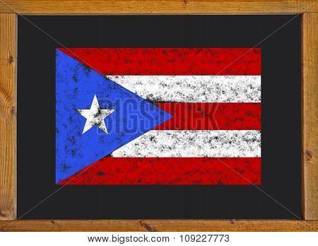 Flag of Puerto Rico on a blackboard