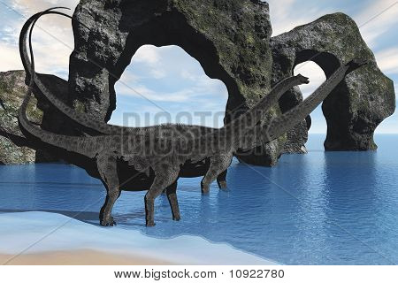 Diplodocus Wading