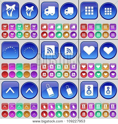 Bow, Truck, Apps, Stars, Rss, Heart, Arrow Up, Tag, Speaker. A Large Set Of Multi-colored Buttons.