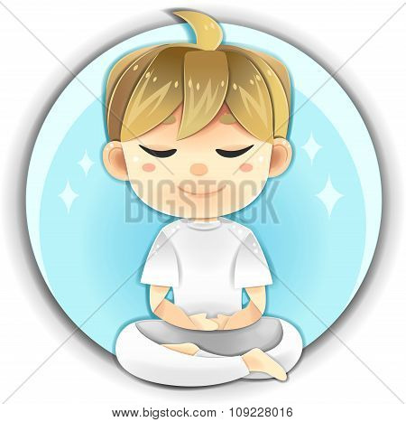 Highly Detail Illustration Cartoon Male Character Is Sitting And Meditate For Concentration And Heal