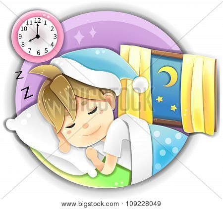 Highly Detail Illustration Cartoon Male Character Wearing Pijamas Sleeping Early In Bed At Night Tim