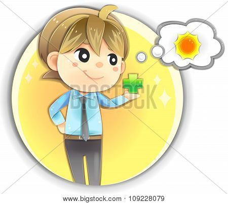 Highly Detail Illustration Cartoon Male Character In Office Uniform Clothing Is Holding Positive Sig