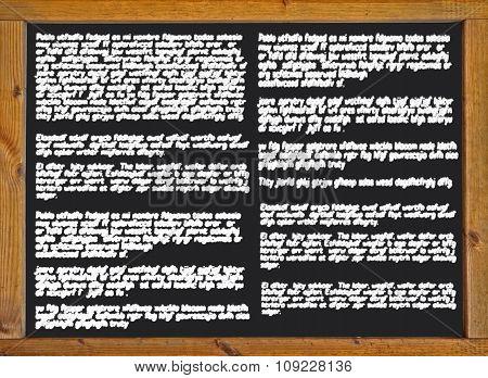 illegible handwriting on a blackboard
