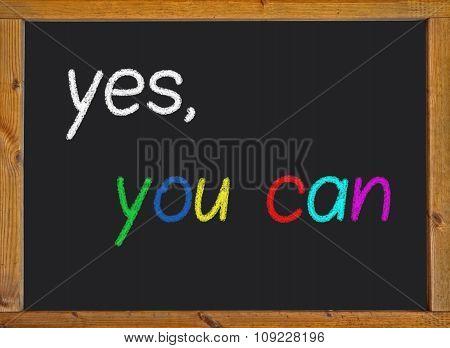 Yes you can written on a blackboard