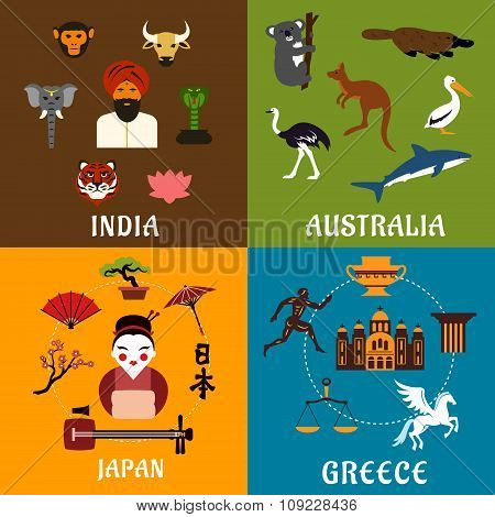 India, Greece, Japan and Australia travel icons