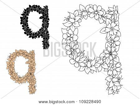Floral letter q with blooming flowers