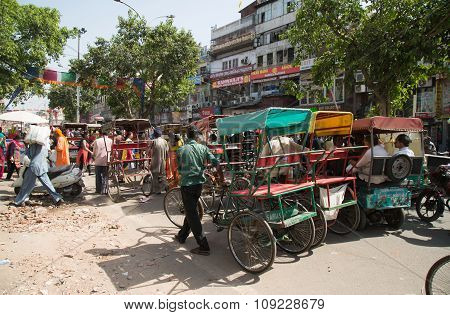 Cycle Rickshaws In Delhi, India