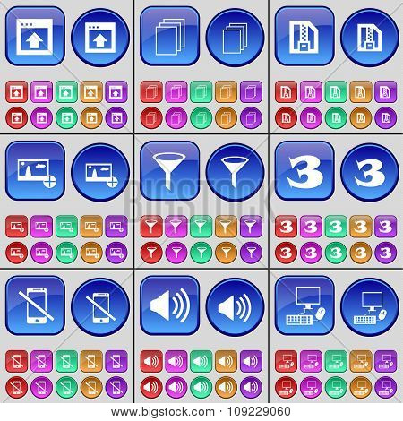 Window, File, Zip File, Picture, Sprinkle, Three, Smartphone, Sound,  Pc. A Large Set Of Multi-