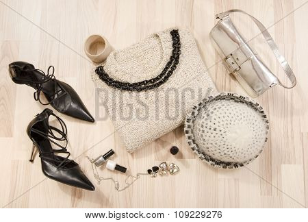 Winter Sweater And Accessories Arranged On The Floor.