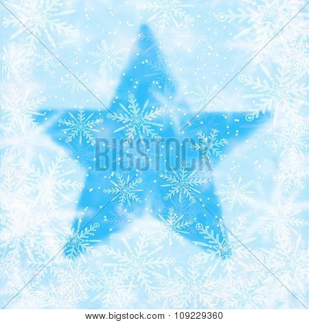 Christmas Background With Snowflakes And The Shape Of A Star