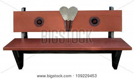 Orange Wooden Bench