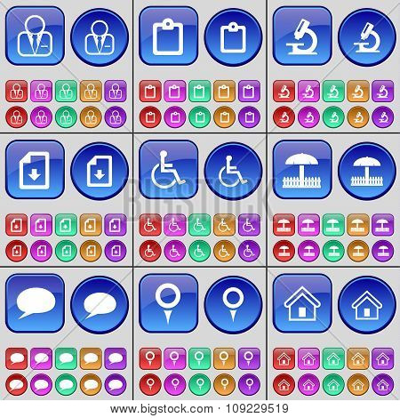Avatar, Survey, Umbrella, Chat Bubble, Checkpoint, House. A Large Set Of Multi-colored Buttons.