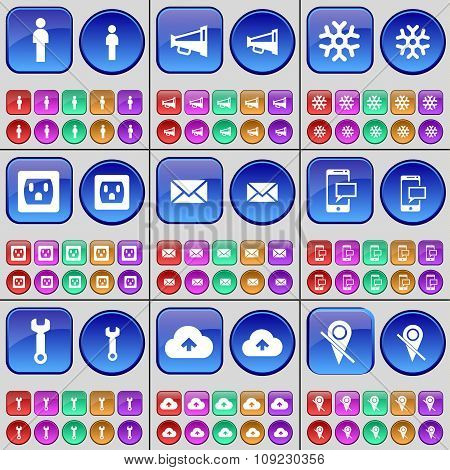 Silhouette, Megaphone, Snowflake, Socket, Message, Sms, Wrench, Cloud, Checkpoint. A Large Set Of