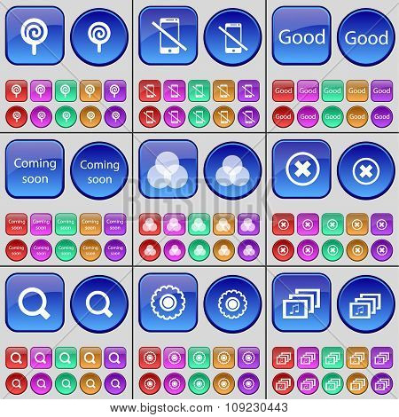 Lollipop, Smartphone, Good, Coming Soon, Rpb, Stop, Magnifying Glass, Gear, Gallery. A Large Set