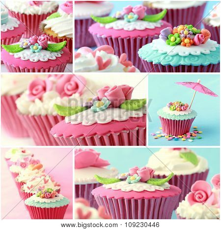 Various Pinky And Red Cupcake, Close Up