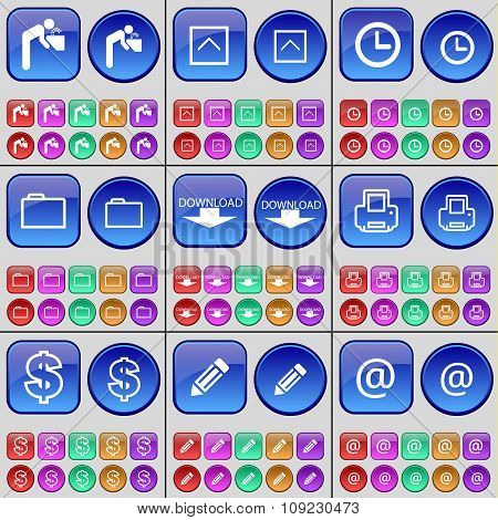 Silhouette, Arrow Up, Clock, Folder, Download, Printer, Dollar, Pencil, Mail. A Large Set Of Multi-