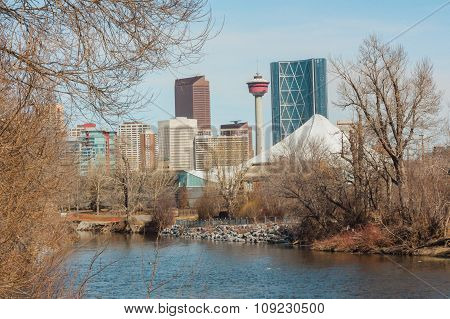 Elbow River And Calgary Cityscape