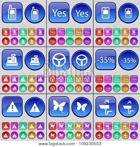 Mobile Phone, Yes, Cash Register, Wheel, Discount, Warning, Butterfly, Tap. A Large Set Of Multi-