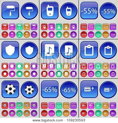 Roller, Mobile Phone, Discount, Badge, File, Survey, Ball, Cassette. A Large Set Of Multi-colored