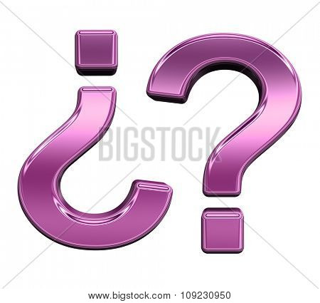 Question mark from shiny pink alphabet set, isolated on white. Computer generated 3D photo rendering.
